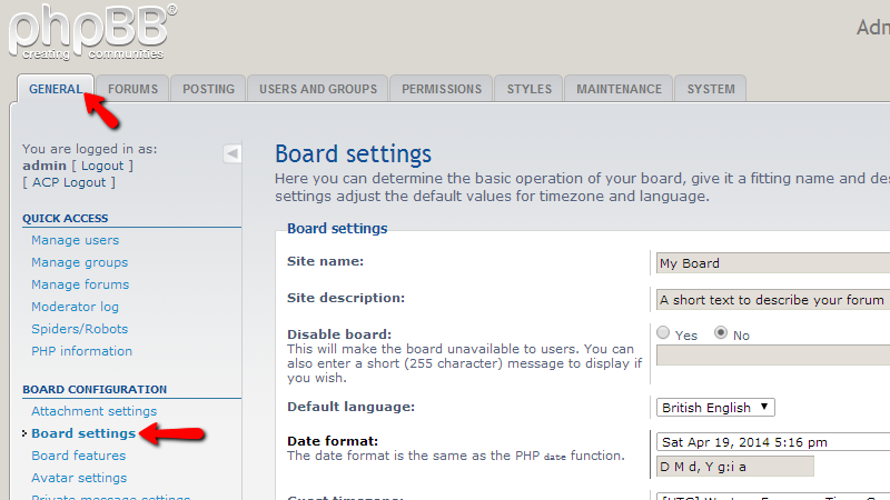 board-settings