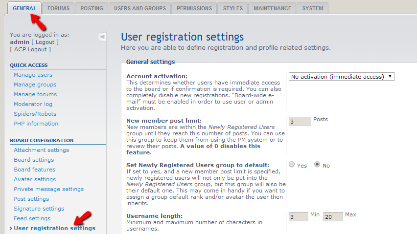 accessing-the-registration-settings