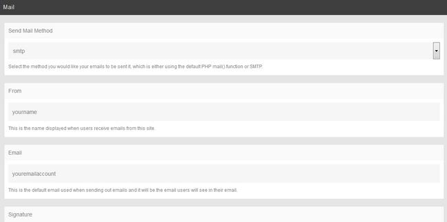 Edit SMTP Details for PHPFox Neutron
