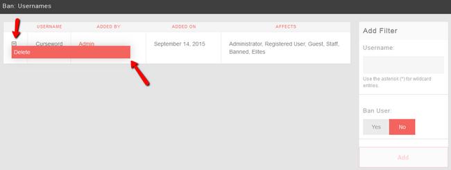 Delete Ban Filter in PHPFox Neutron