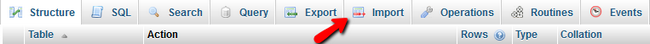 Select Import button in phpMyAdmin