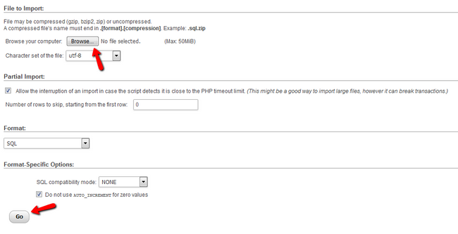 Import Database via phpMyAdmin