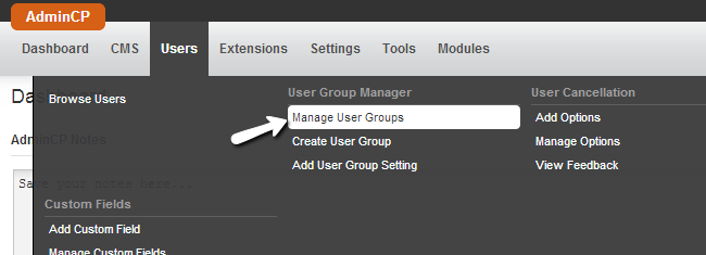Access the user group management in PHPFox