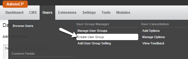 Access the user groups manager in PHPFox