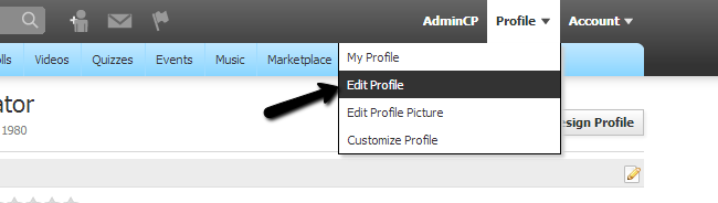 Edit profile in PHPFox