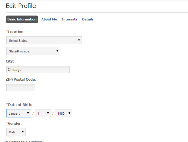 Set profile details in PHPFox