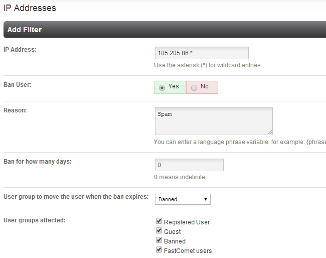 Add information for IP address ban in PHPFox