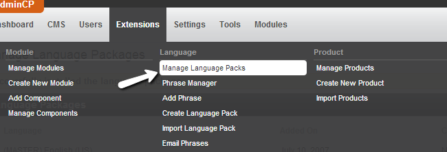 Access language pack manager in PHPFox