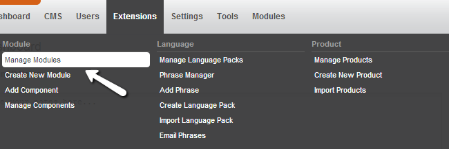 Access the modules manager in PHPFox