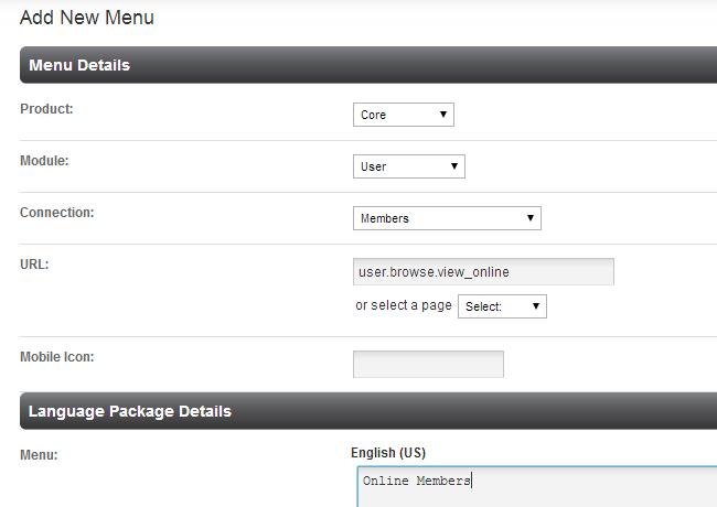 Edit menu details in PHPFox