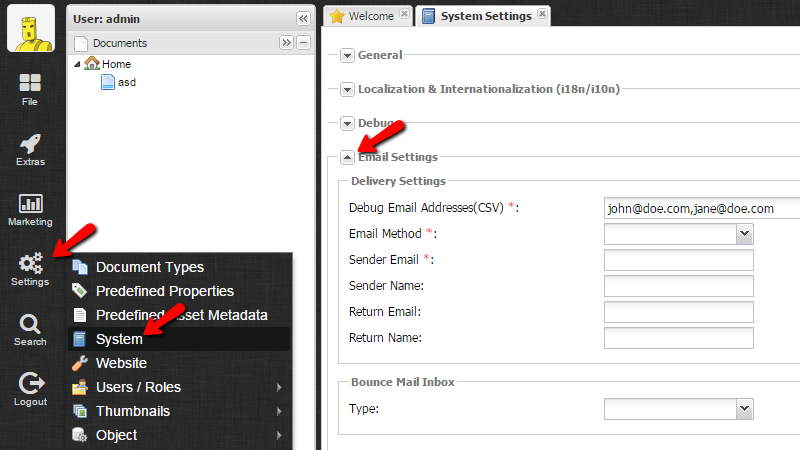 Pimcore Email Configuration