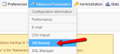 Advanced-Parameters-DB-Backup
