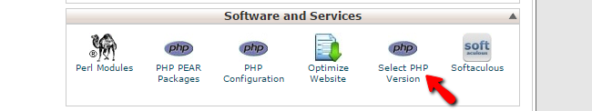 accessing the php version changer