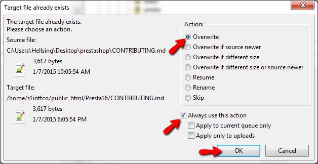 Overwriting the existing files