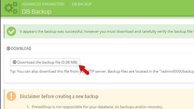 Downloading the generated database backup