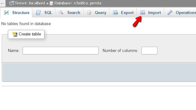 Accessing the importing feature