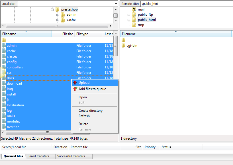 Uploading the installation files
