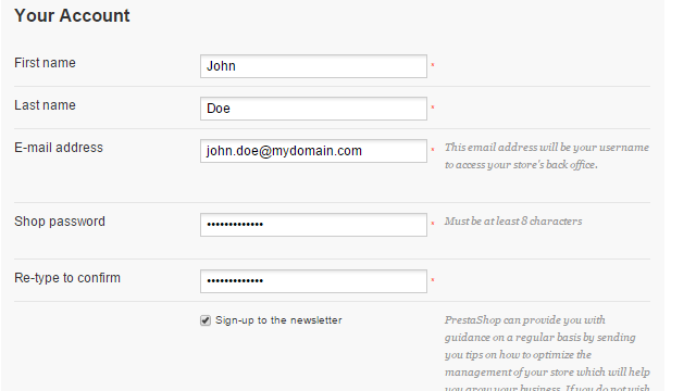 Admin Account configuration