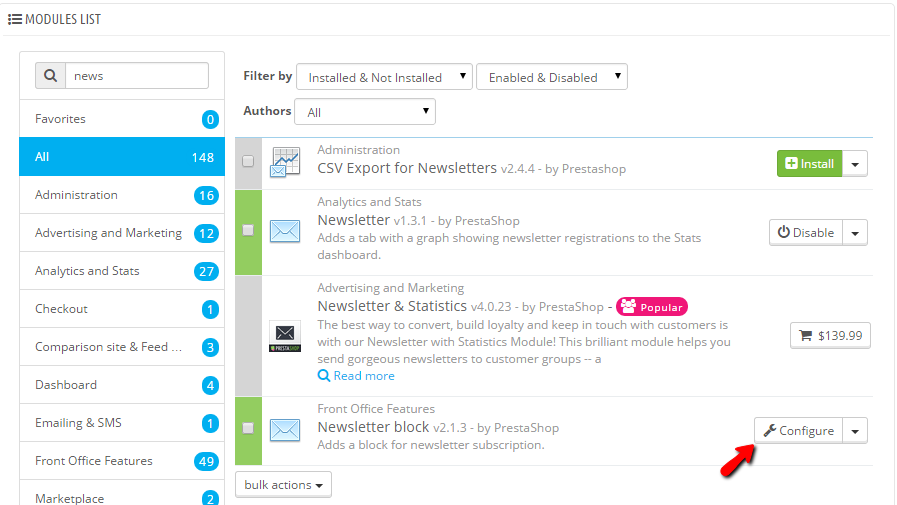 Configuring the newsletter module