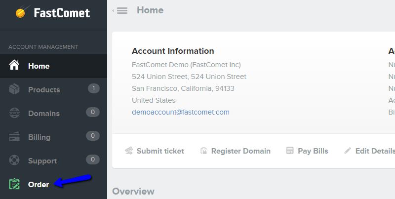 FastComet Client Area Orders