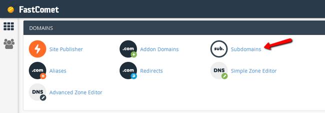 Accessing the Subdomains menu via cPanel