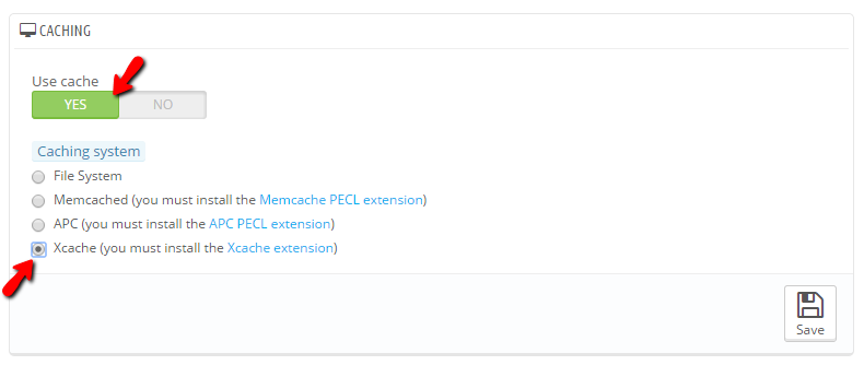 enabling xcache in the performance section of prestashop