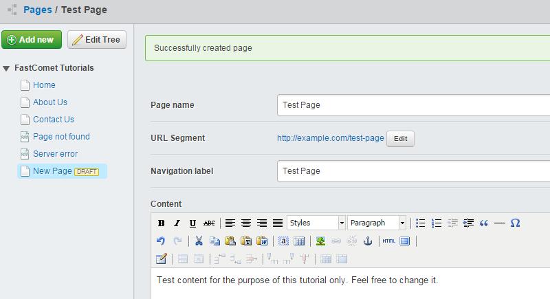 Edit page details in SilverStripe