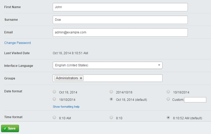 Edit admin account details in SilverStripe
