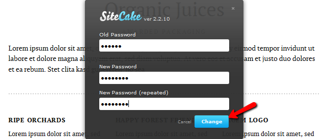 Changing your password in Sitecake