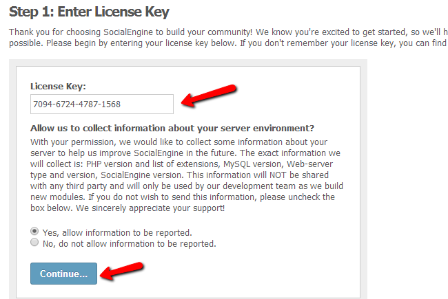 Enter your SocialEngine license