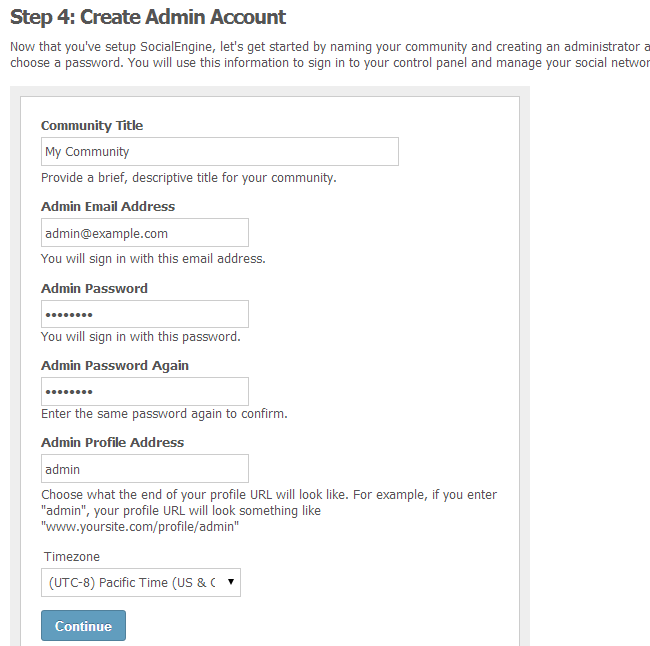 Configure SocialEngine admin account