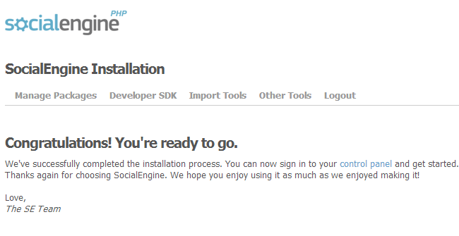 Successful SocialEngine installation