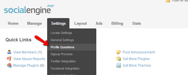Access profile questions menu in SocialEngine