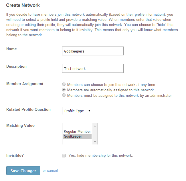 Edit network details in SocialEngine