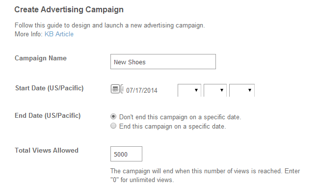 Create a new advertising campaign in SocialEngine