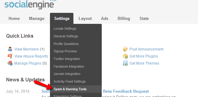 Access spam and banning tools in SocialEngine