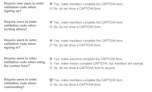 Edit spam options in SocialEngine