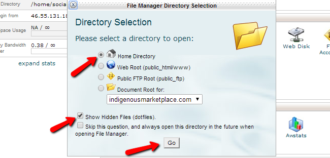 Access home directory of your account via file manager in cPanel