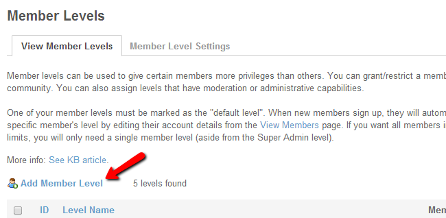 Add a new member level in SocialEngine