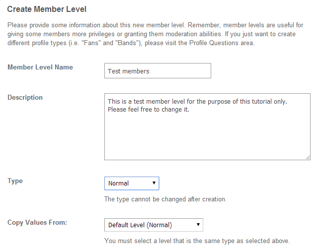 Edit details for new member level in SocialEngine