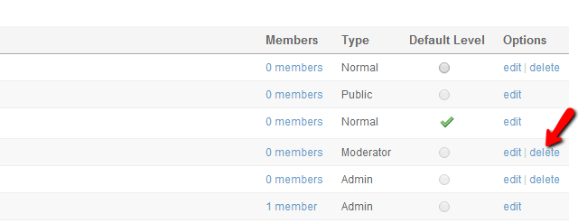 Delete existing member level in SocialEngine