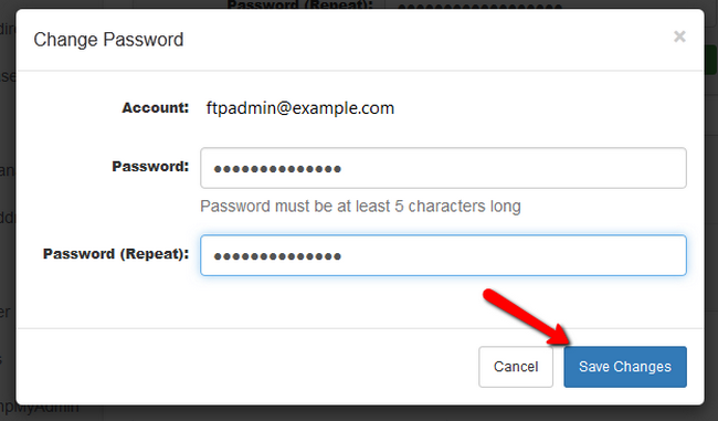 Confirming the change of the password for your FTP account