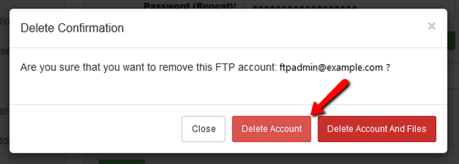 Confirming the deletion of your FTP account