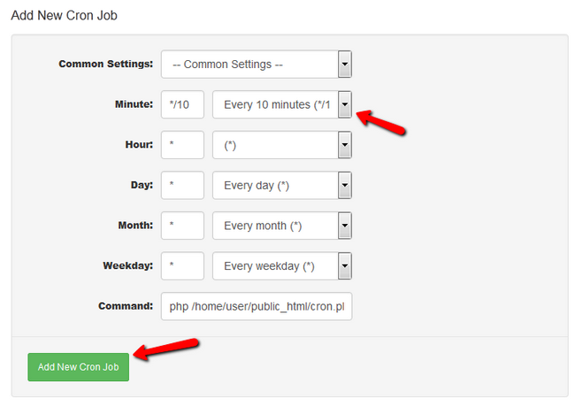 Configuring a new Cron Job