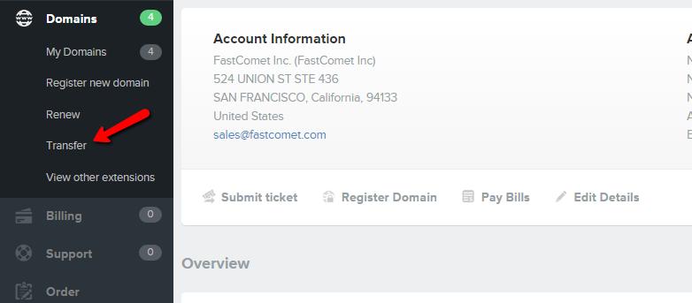 Start a domain transfer