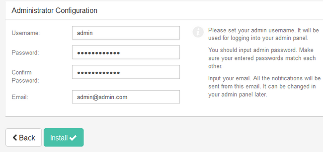 Creating an Administrators account for Subrion