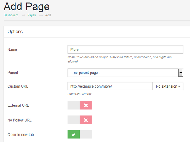 Configuring a new Page in Subrion