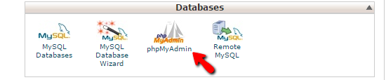 accessing the phpMyAdmin feature
