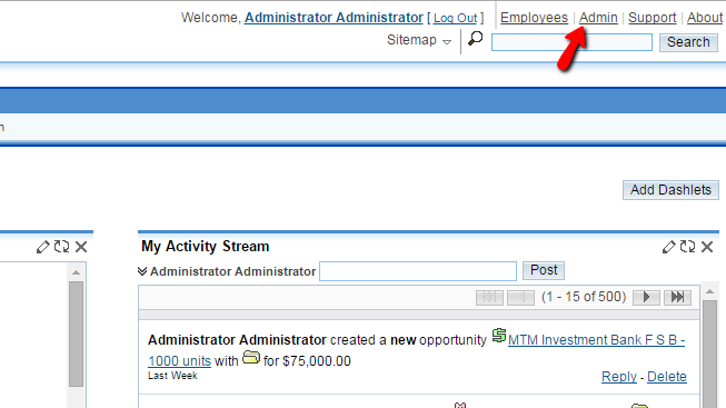 accessing the admin page