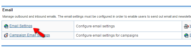 accessing the email settings page alternatively